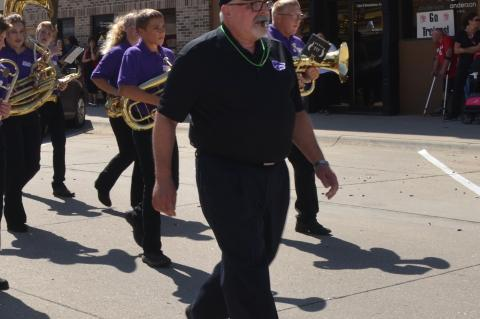 HNS band director Doyle Anderson leads HNS in a homecoming parade