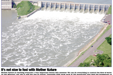 This Cedar County News file photo from 2011 shows the Gavins Point Dam as highest level of water ever is released from it.