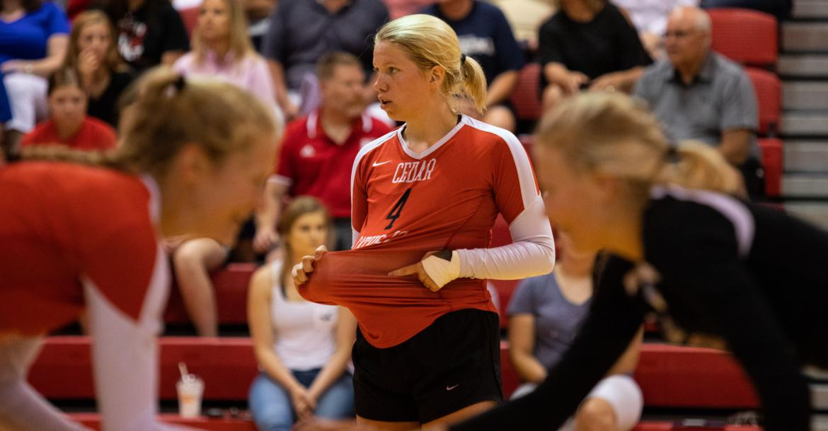 Cedar Catholic's Ashley Hamilton tells the server where to serve during the All Star Volleyball Class in Norfolk, Neb., on Saturday, June 09, 2018.