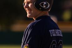 Sam Feilmeier laughs during a Sr. Legion game against Neligh
