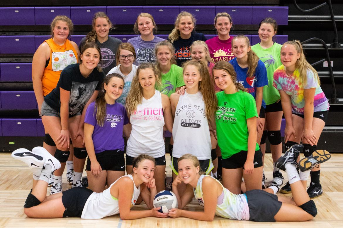 Back row: Makenna Clarkson, Keely Wiepen, Kiana Korth, Kayden Jueden, Gina Jueden and Erin Miesenheimer. Middle row: Brianna Hopping, Anya Pick, Caroline Nelson, Daisey Sage, Jessica Opfer and Erin Folkers. Front row: Mia Knutson, Hailey Gottsche, Abbe Morten and Evvie Krie. Laying: Liby Lange and Willa Scoville. Not pictured: Autumn Lammers and Belle Harms.